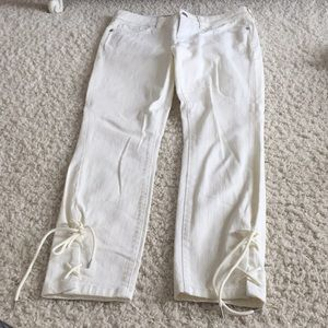 Anthropologie white denim skinny ankle jeans